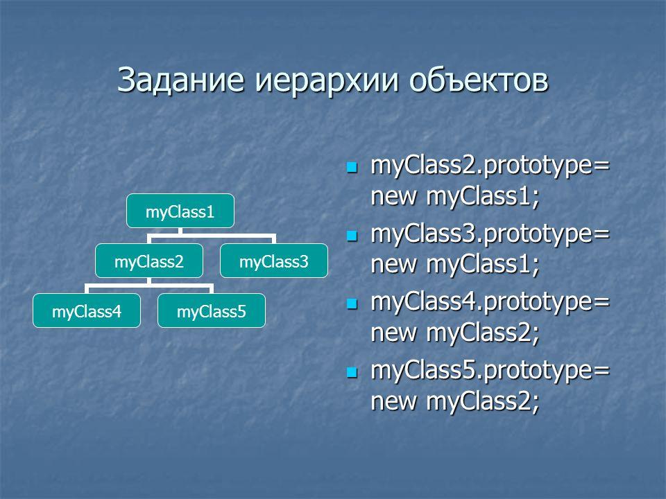Задание иерархии объектов myClass2.prototype= new myClass1; myClass2.prototype= new myClass1; myClass3.prototype= new myClass1; myClass3.prototype= new myClass1; myClass4.prototype= new myClass2; myClass4.prototype= new myClass2; myClass5.prototype= new myClass2; myClass5.prototype= new myClass2; myClass1 myClass2 myClass4myClass5 myClass3