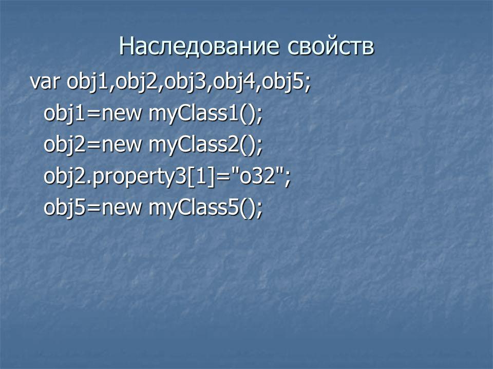 Наследование свойств var obj1,obj2,obj3,obj4,obj5; obj1=new myClass1(); obj1=new myClass1(); obj2=new myClass2(); obj2=new myClass2(); obj2.property3[1]= o32 ; obj2.property3[1]= o32 ; obj5=new myClass5(); obj5=new myClass5();
