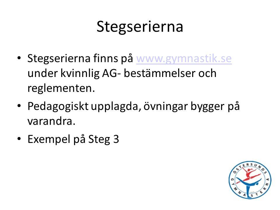 Stegserierna Stegserierna finns på www.gymnastik.se under kvinnlig AG- bestämmelser och reglementen.www.gymnastik.se Pedagogiskt upplagda, övningar bygger på varandra.
