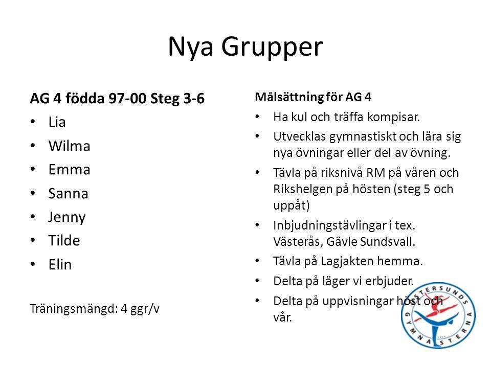 Nya Grupper AG 4 födda 97-00 Steg 3-6 Lia Wilma Emma Sanna Jenny Tilde Elin Träningsmängd: 4 ggr/v Målsättning för AG 4 Ha kul och träffa kompisar.
