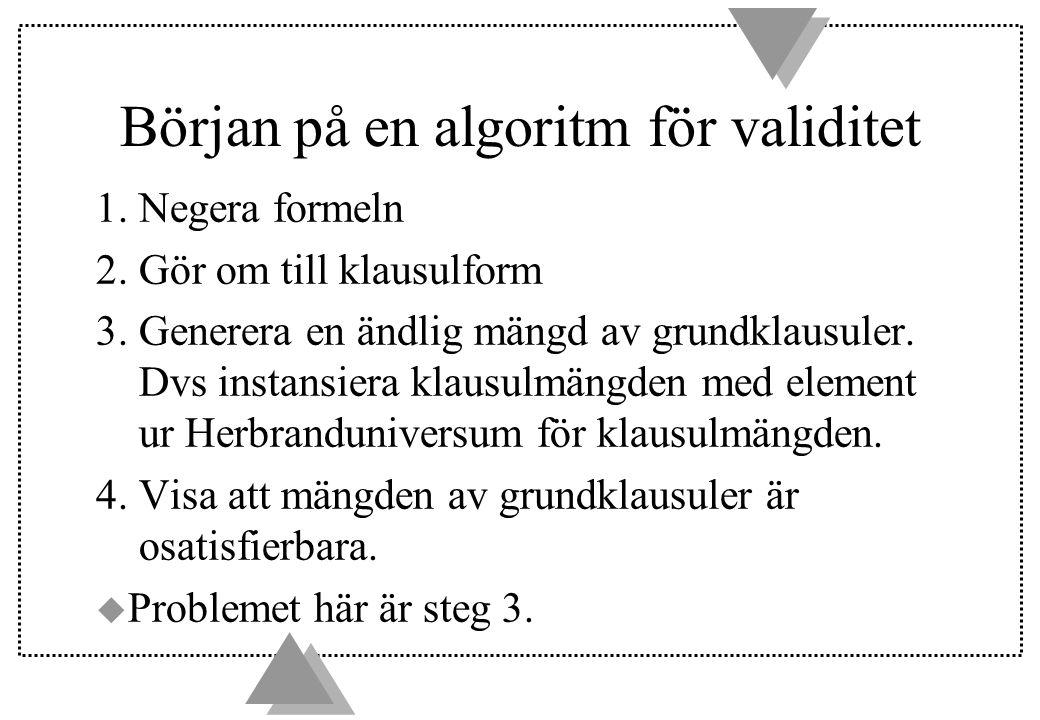 Början på en algoritm för validitet 1. Negera formeln 2.