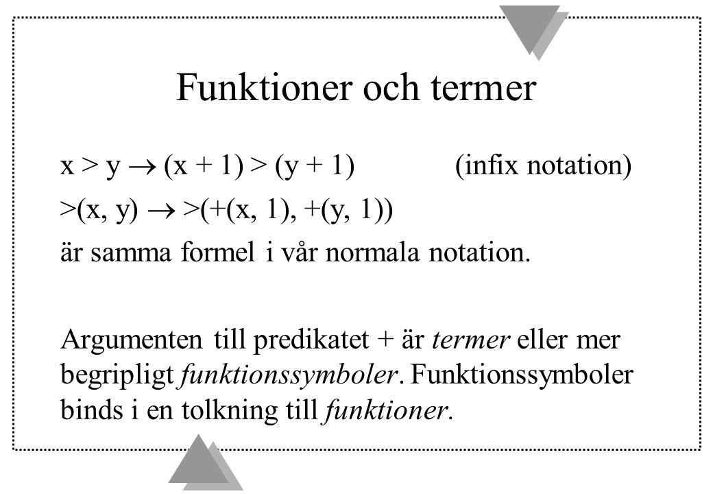 Termer och formler u a, x, f(a, x) och g(f(a, f(x)) är exempel på termer u p(a, b), p(x, f(a, b, c)) och p(x, g(x)) är exempel på formler u En term är sluten (stängd, closed) om den inte innehåller variabler.