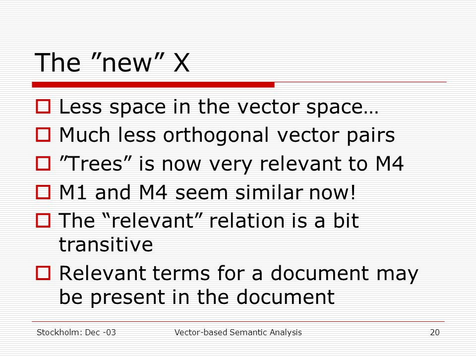 "Stockholm: Dec -03Vector-based Semantic Analysis20 The ""new"" X  Less space in the vector space…  Much less orthogonal vector pairs  ""Trees"" is now"