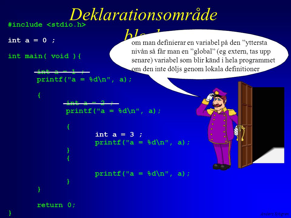 Anders Sjögren Deklarationsområde block #include int a = 0 ; int main( void ){ int a = 1 ; printf(