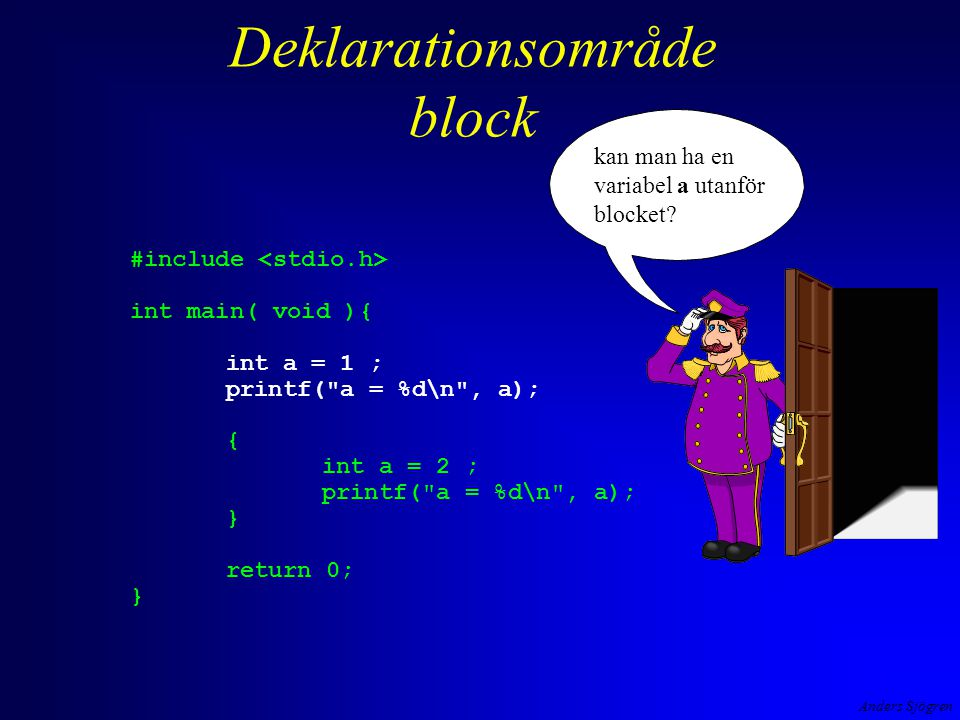 Anders Sjögren Deklarationsområde block #include int main( void ){ int a = 1 ; printf(
