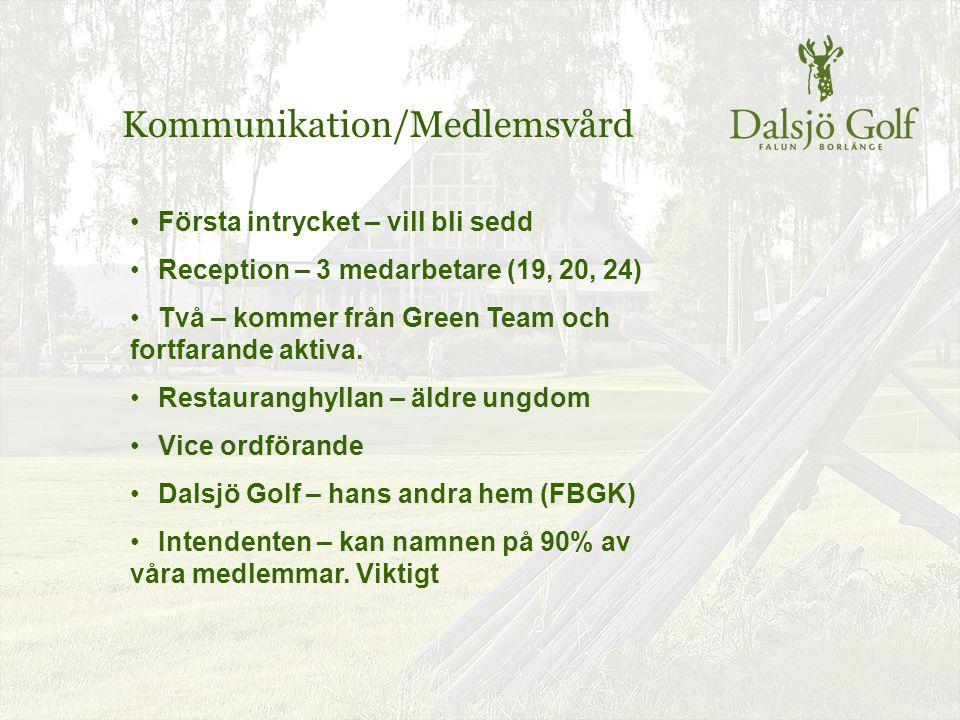 Kommunikation/Medlemsvård Första intrycket – vill bli sedd Reception – 3 medarbetare (19, 20, 24) Två – kommer från Green Team och fortfarande aktiva.