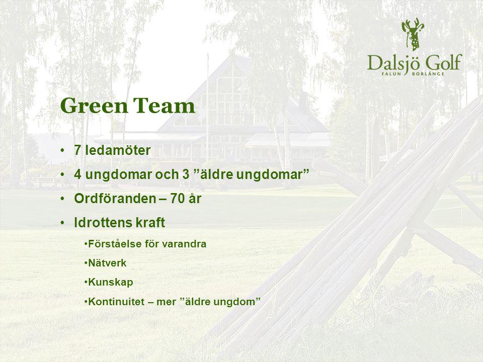 """Green Team 7 ledamöter 4 ungdomar och 3 """"äldre ungdomar"""" Ordföranden – 70 år Idrottens kraft Förståelse för varandra Nätverk Kunskap Kontinuitet – mer"""