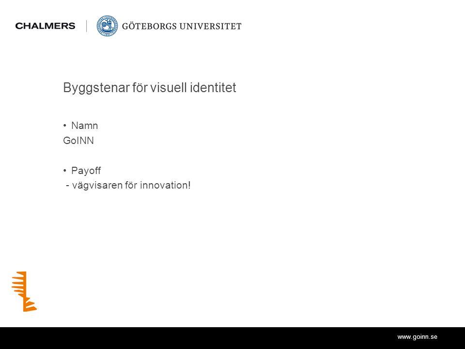 www.goinn.se Byggstenar för visuell identitet Namn GoINN Payoff - vägvisaren för innovation!