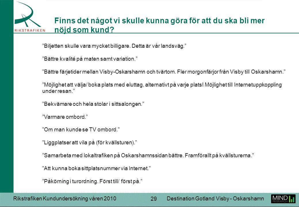Rikstrafiken Kundundersökning våren 2010Destination Gotland Visby - Oskarshamn 29 Biljetten skulle vara mycket billigare.