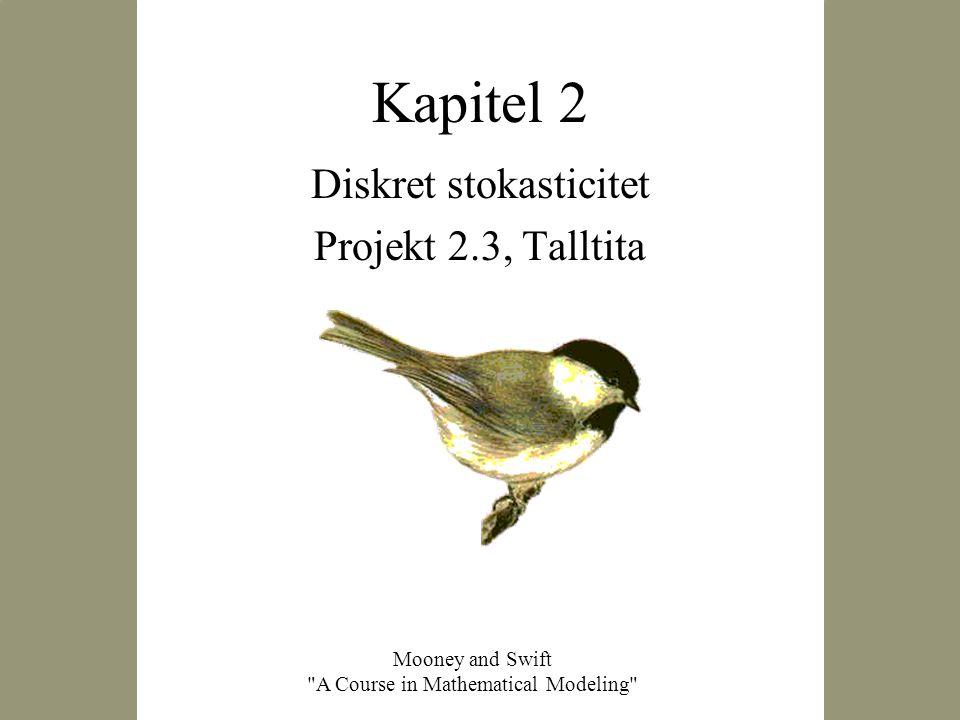 2003-09-10 NBIC24 Matematiska modeller i kemi och biologi2 Uppgift 2.3, Talltita Projektet handlar om att konstruera en stokastisk modell för en population med talltita (Black- capped chickadee) i Connecticut.