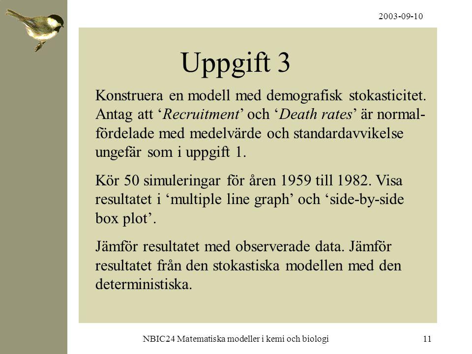 2003-09-10 NBIC24 Matematiska modeller i kemi och biologi11 Uppgift 3 Konstruera en modell med demografisk stokasticitet. Antag att 'Recruitment' och