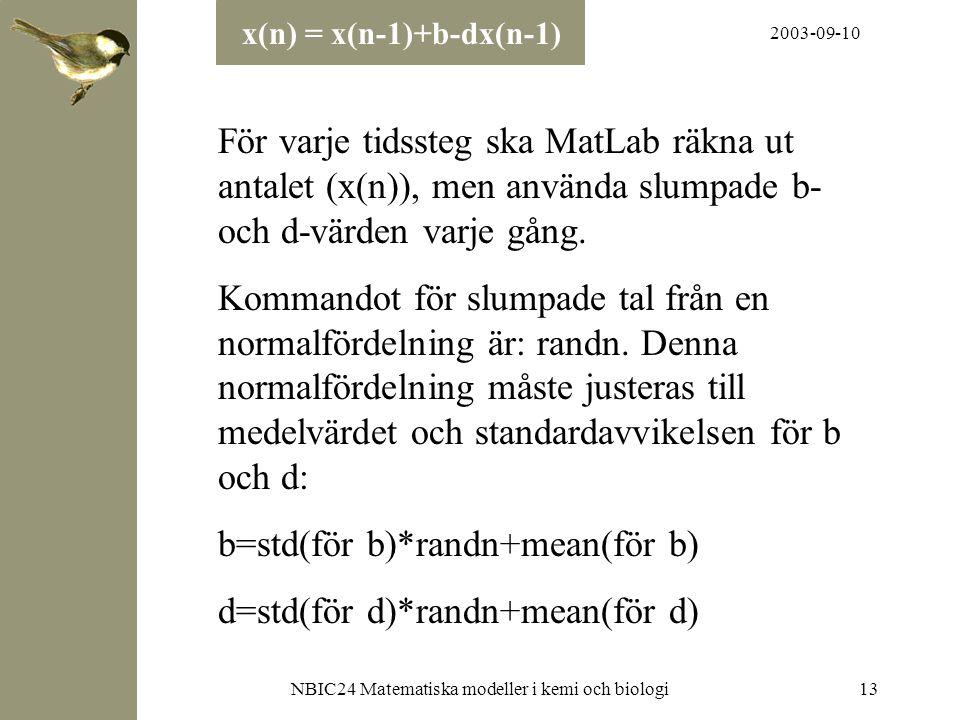 2003-09-10 NBIC24 Matematiska modeller i kemi och biologi13 För varje tidssteg ska MatLab räkna ut antalet (x(n)), men använda slumpade b- och d-värde