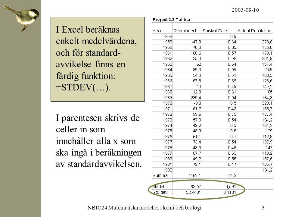 2003-09-10 NBIC24 Matematiska modeller i kemi och biologi6 Medelvärde och standardavvikelse kan också räknas ut med hjälp av MatLab: Skriv in alla värden för 'Recruitment' och 'Death Rate' som två vektorer (x).