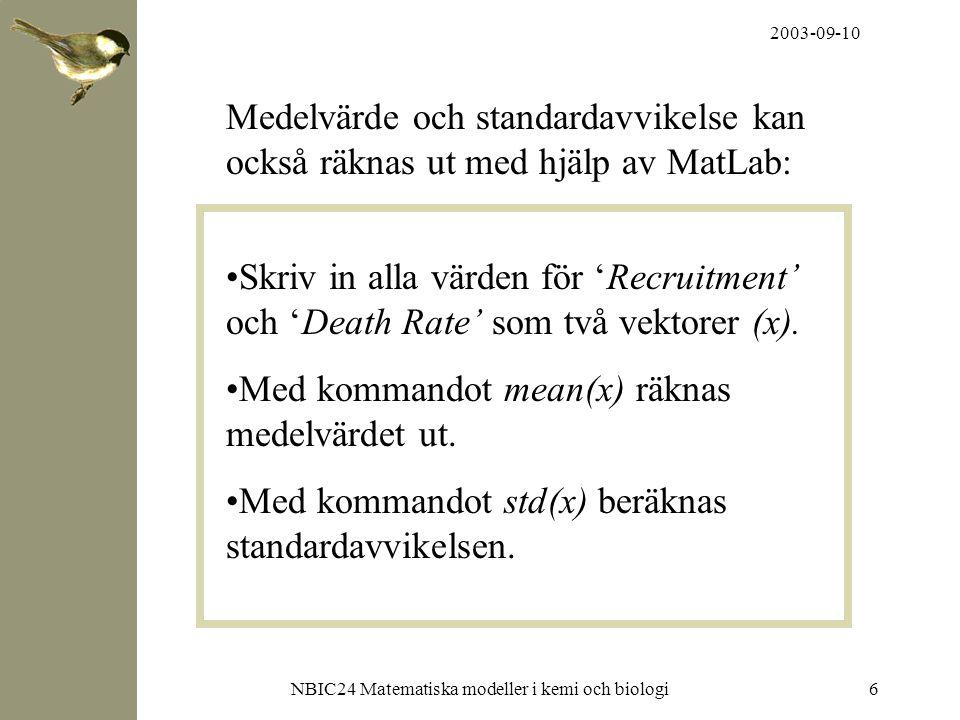 2003-09-10 NBIC24 Matematiska modeller i kemi och biologi6 Medelvärde och standardavvikelse kan också räknas ut med hjälp av MatLab: Skriv in alla vär