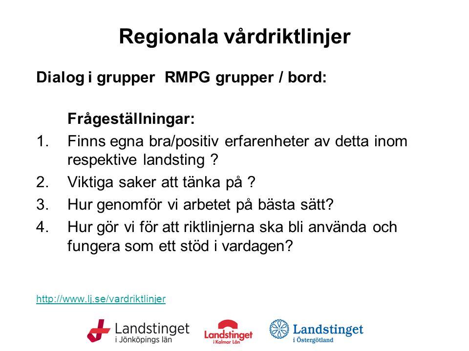 Regionala vårdriktlinjer Dialog i grupper RMPG grupper / bord: Frågeställningar: 1.Finns egna bra/positiv erfarenheter av detta inom respektive landsting .