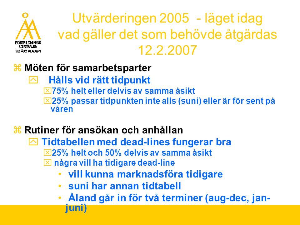 Utvärderingen 2005 - läget idag vad gäller det som behövde åtgärdas 12.2.2007  Möten för samarbetsparter  Hålls vid rätt tidpunkt  75% helt eller d