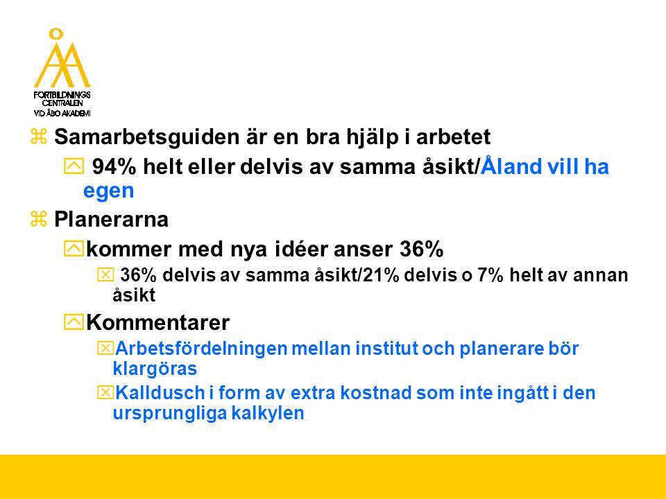  Samarbetsguiden är en bra hjälp i arbetet  94% helt eller delvis av samma åsikt/Åland vill ha egen  Planerarna  kommer med nya idéer anser 36%  36% delvis av samma åsikt/21% delvis o 7% helt av annan åsikt  Kommentarer  Arbetsfördelningen mellan institut och planerare bör klargöras  Kalldusch i form av extra kostnad som inte ingått i den ursprungliga kalkylen