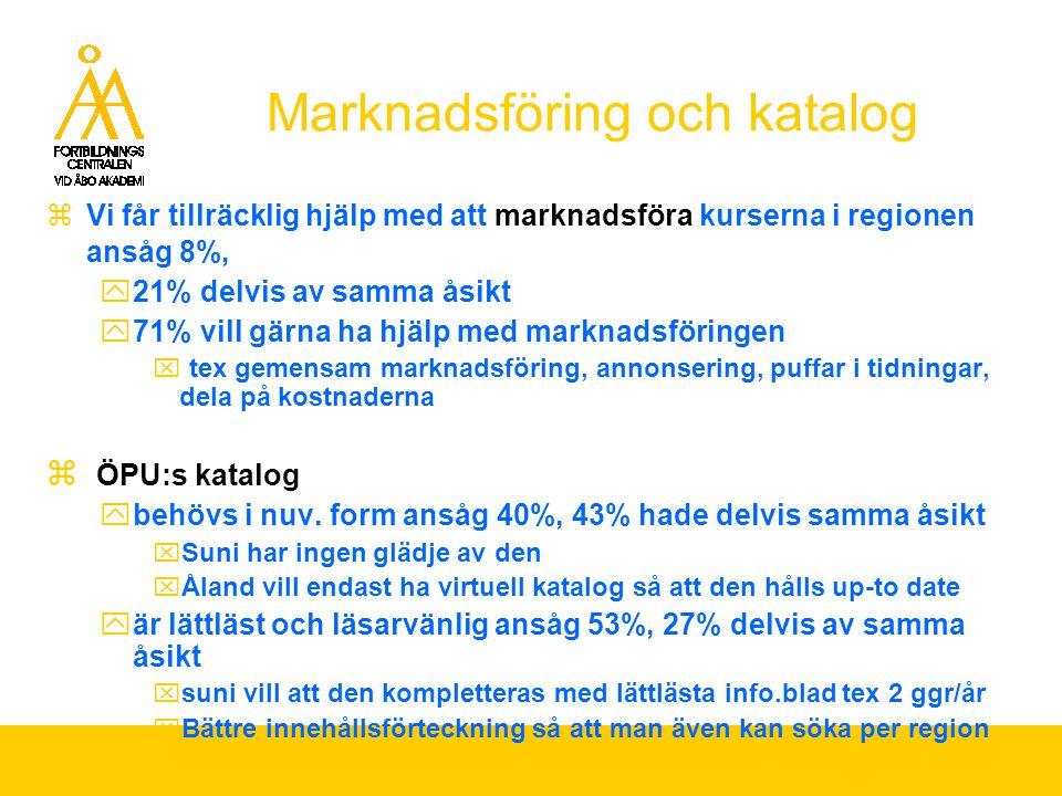 Marknadsföring och katalog  Vi får tillräcklig hjälp med att marknadsföra kurserna i regionen ansåg 8%,  21% delvis av samma åsikt  71% vill gärna