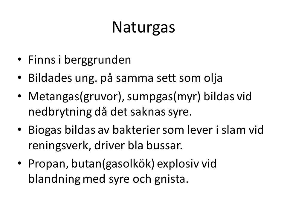 Naturgas Finns i berggrunden Bildades ung. på samma sett som olja Metangas(gruvor), sumpgas(myr) bildas vid nedbrytning då det saknas syre. Biogas bil