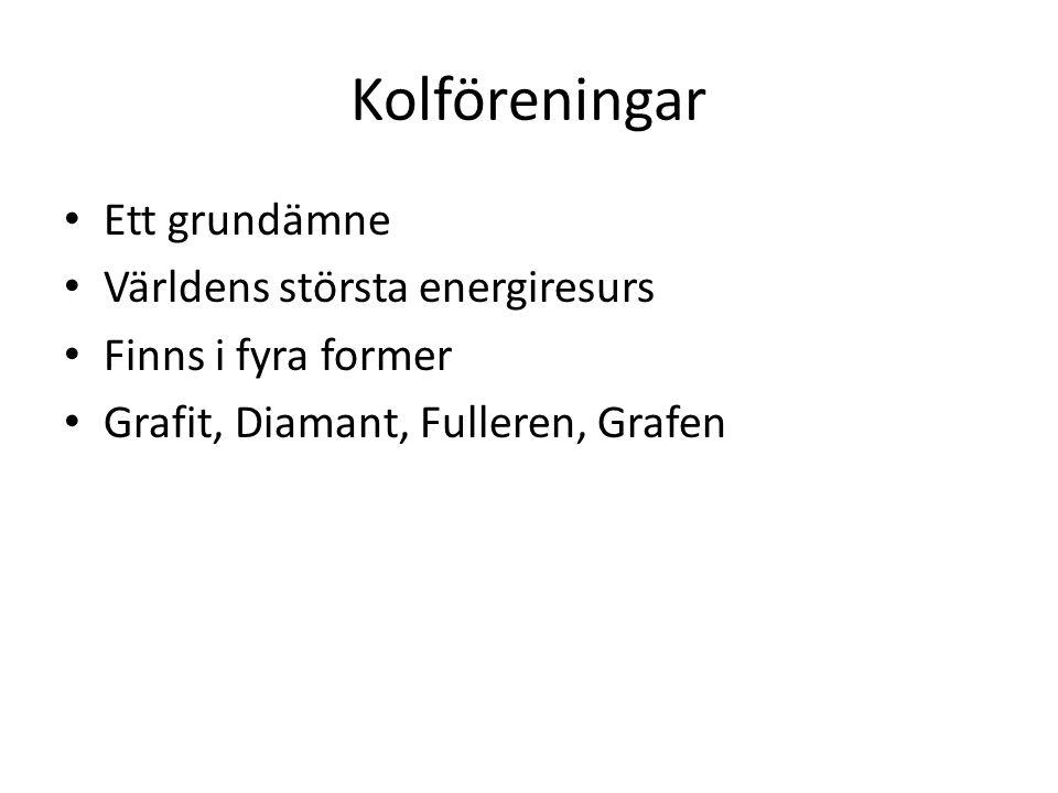 Kolföreningar Ett grundämne Världens största energiresurs Finns i fyra former Grafit, Diamant, Fulleren, Grafen