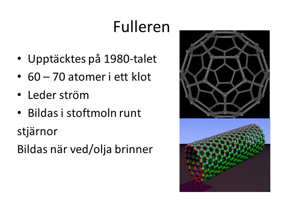 Fulleren Upptäcktes på 1980-talet 60 – 70 atomer i ett klot Leder ström Bildas i stoftmoln runt stjärnor Bildas när ved/olja brinner