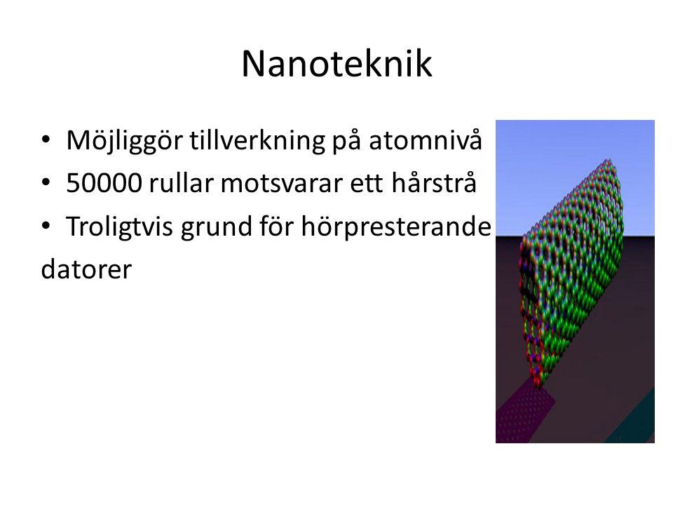 Nanoteknik Möjliggör tillverkning på atomnivå 50000 rullar motsvarar ett hårstrå Troligtvis grund för hörpresterande datorer