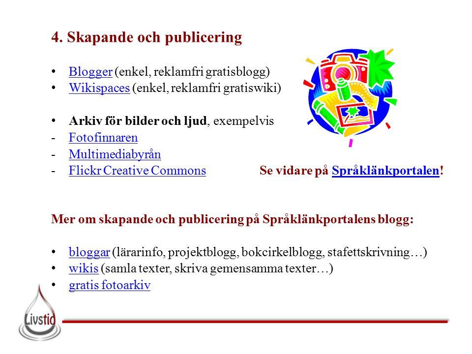 4. Skapande och publicering Blogger (enkel, reklamfri gratisblogg) Blogger Wikispaces (enkel, reklamfri gratiswiki) Wikispaces Arkiv för bilder och lj