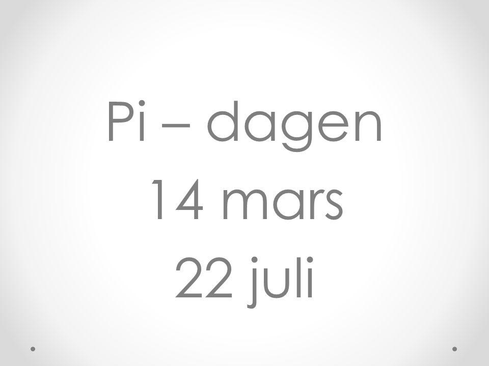 Pi – dagen 14 mars 22 juli