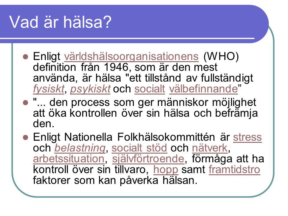 Vad är hälsa? Enligt världshälsoorganisationens (WHO) definition från 1946, som är den mest använda, är hälsa
