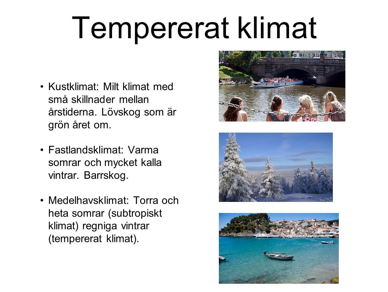 Tempererat klimat Kustklimat: Milt klimat med små skillnader mellan årstiderna. Lövskog som är grön året om. Fastlandsklimat: Varma somrar och mycket