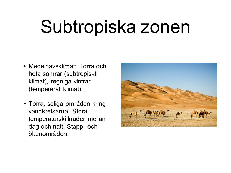 Subtropiska zonen Medelhavsklimat: Torra och heta somrar (subtropiskt klimat), regniga vintrar (tempererat klimat). Torra, soliga områden kring vändkr