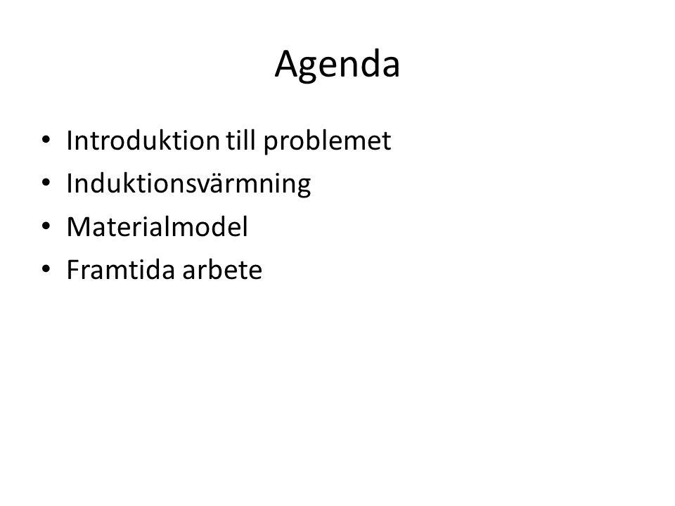 Agenda Introduktion till problemet Induktionsvärmning Materialmodel Framtida arbete
