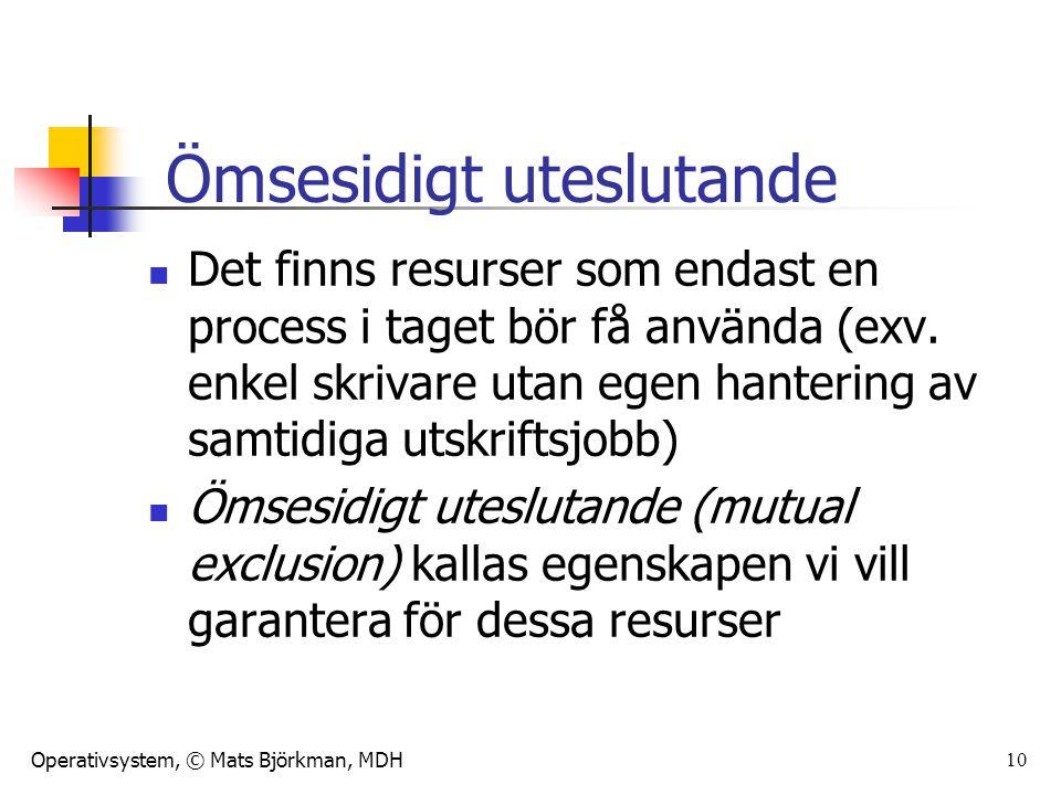 Operativsystem, © Mats Björkman, MDH 10 Det finns resurser som endast en process i taget bör få använda (exv. enkel skrivare utan egen hantering av sa