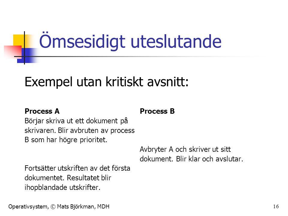 Operativsystem, © Mats Björkman, MDH 16 Ömsesidigt uteslutande Exempel utan kritiskt avsnitt: Process AProcess B Börjar skriva ut ett dokument på skri