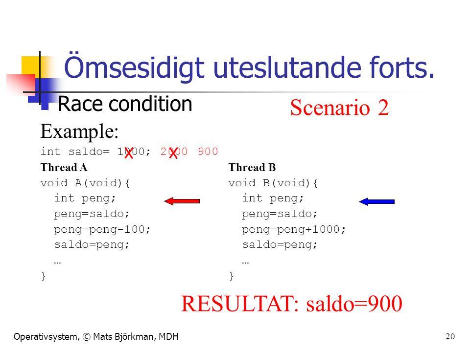 Operativsystem, © Mats Björkman, MDH Race condition Example: int saldo= 1000; Thread AThread B void A(void){void B(void){ int peng; peng=saldo; peng=saldo; peng=peng-100; peng=peng+1000; saldo=peng; saldo=peng; …} 20 Ömsesidigt uteslutande forts.