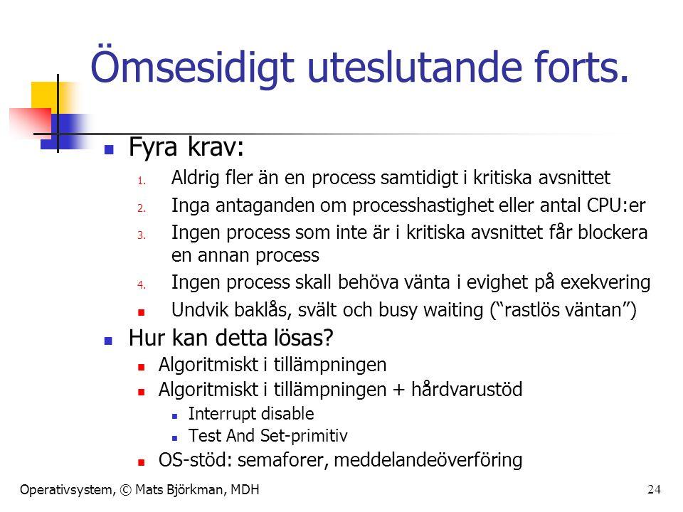 Operativsystem, © Mats Björkman, MDH 24 Ömsesidigt uteslutande forts. Fyra krav: 1. Aldrig fler än en process samtidigt i kritiska avsnittet 2. Inga a