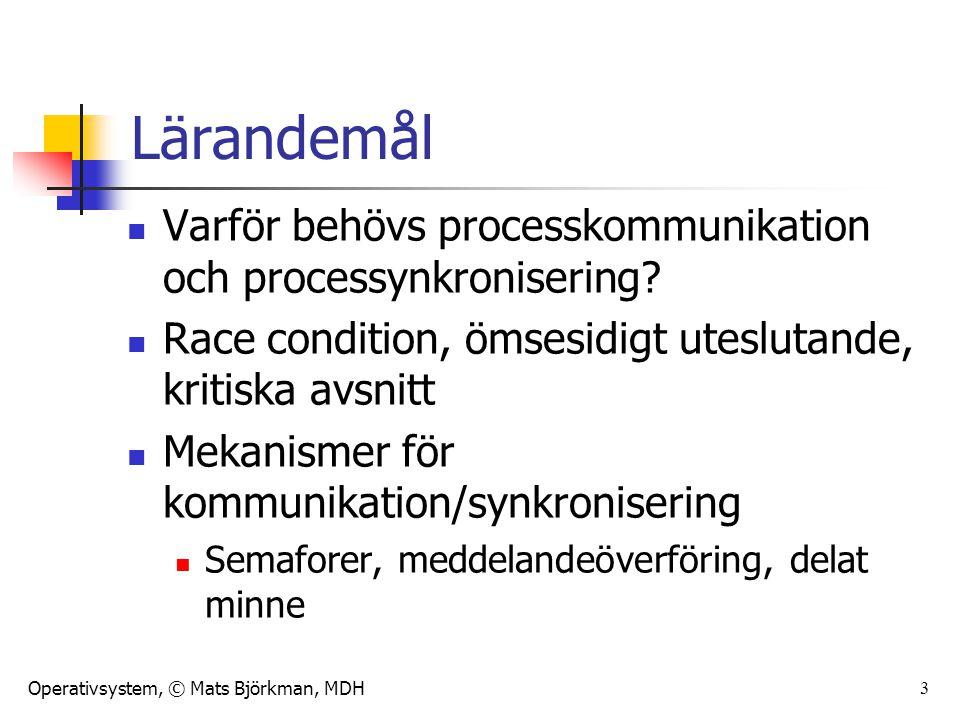Operativsystem, © Mats Björkman, MDH 3 Lärandemål Varför behövs processkommunikation och processynkronisering? Race condition, ömsesidigt uteslutande,