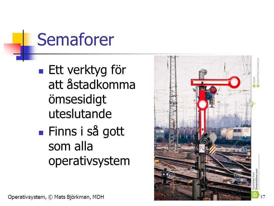 Operativsystem, © Mats Björkman, MDH 37 Semaforer Ett verktyg för att åstadkomma ömsesidigt uteslutande Finns i så gott som alla operativsystem