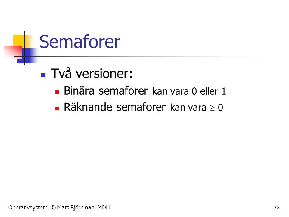 Operativsystem, © Mats Björkman, MDH 38 Semaforer Två versioner: Binära semaforer kan vara 0 eller 1 Räknande semaforer kan vara  0