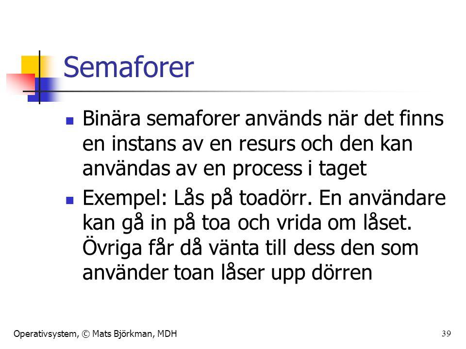 Operativsystem, © Mats Björkman, MDH 39 Semaforer Binära semaforer används när det finns en instans av en resurs och den kan användas av en process i taget Exempel: Lås på toadörr.