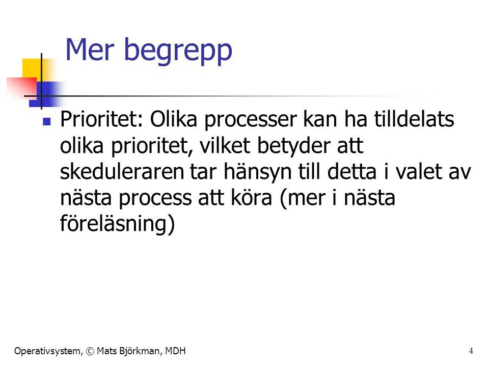Operativsystem, © Mats Björkman, MDH Mer begrepp Prioritet: Olika processer kan ha tilldelats olika prioritet, vilket betyder att skeduleraren tar hänsyn till detta i valet av nästa process att köra (mer i nästa föreläsning) 4