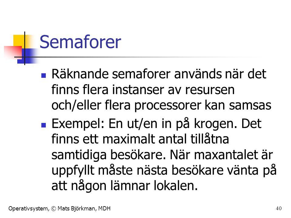 Operativsystem, © Mats Björkman, MDH 40 Semaforer Räknande semaforer används när det finns flera instanser av resursen och/eller flera processorer kan samsas Exempel: En ut/en in på krogen.