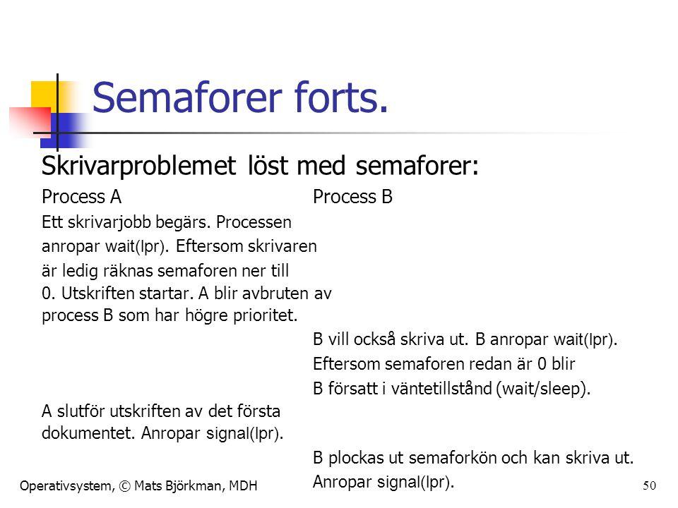 Operativsystem, © Mats Björkman, MDH 50 Semaforer forts. Skrivarproblemet löst med semaforer: Process AProcess B Ett skrivarjobb begärs. Processen anr