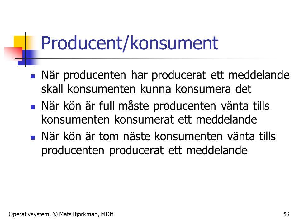 Operativsystem, © Mats Björkman, MDH 53 Producent/konsument När producenten har producerat ett meddelande skall konsumenten kunna konsumera det När kön är full måste producenten vänta tills konsumenten konsumerat ett meddelande När kön är tom näste konsumenten vänta tills producenten producerat ett meddelande
