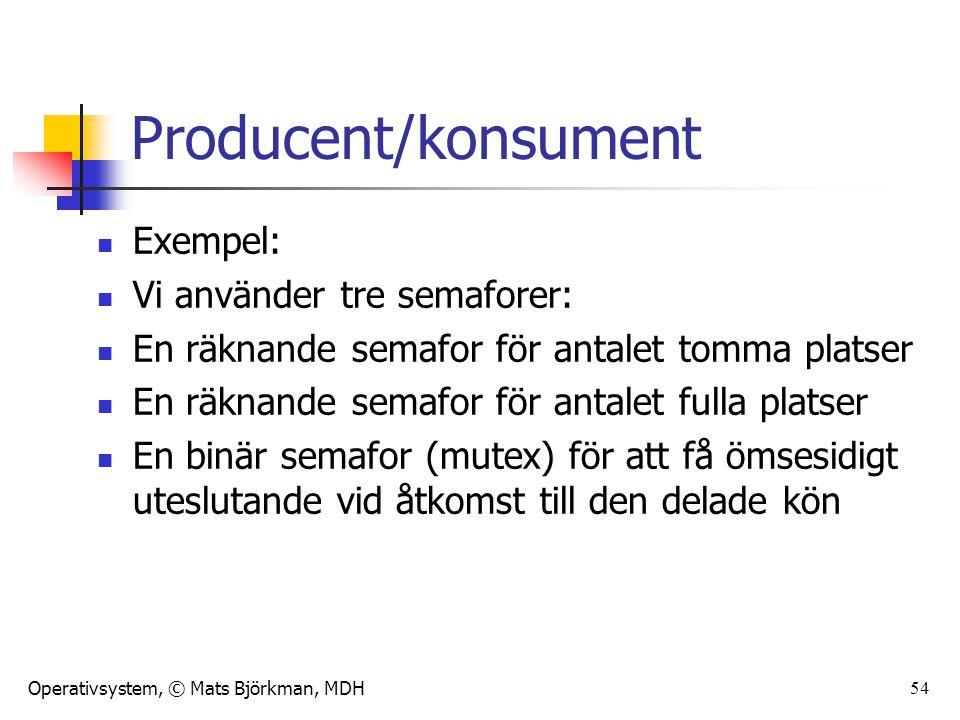 Operativsystem, © Mats Björkman, MDH 54 Producent/konsument Exempel: Vi använder tre semaforer: En räknande semafor för antalet tomma platser En räknande semafor för antalet fulla platser En binär semafor (mutex) för att få ömsesidigt uteslutande vid åtkomst till den delade kön