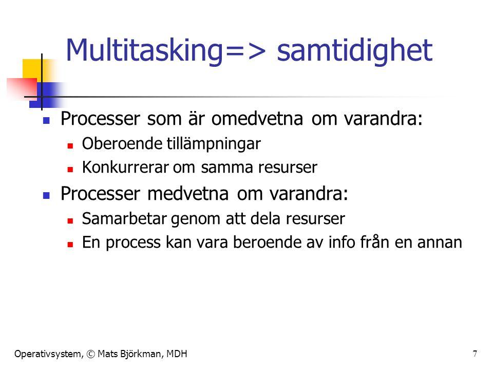 Operativsystem, © Mats Björkman, MDH Multitasking=> samtidighet Processer som är omedvetna om varandra: Oberoende tillämpningar Konkurrerar om samma resurser Processer medvetna om varandra: Samarbetar genom att dela resurser En process kan vara beroende av info från en annan 7