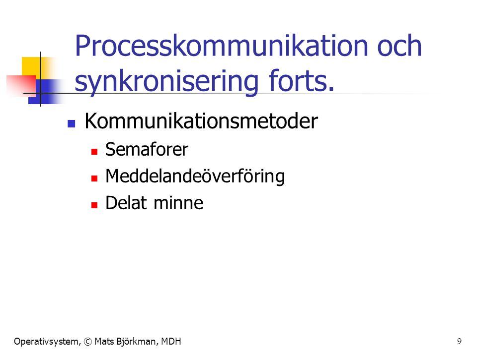 Operativsystem, © Mats Björkman, MDH 9 Kommunikationsmetoder Semaforer Meddelandeöverföring Delat minne Processkommunikation och synkronisering forts.