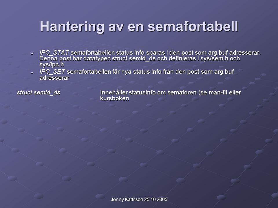 Jonny Karlsson 25.10.2005 Hantering av en semafortabell IPC_STAT semafortabellen status info sparas i den post som arg.buf adresserar. Denna post har