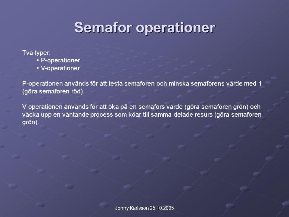 Jonny Karlsson 25.10.2005 Semafor operationer Två typer: P-operationer V-operationer P-operationen används för att testa semaforen och minska semafore
