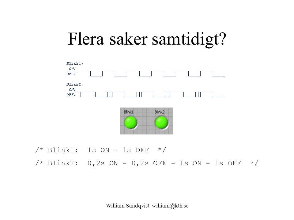 William Sandqvist william@kth.se Flera saker samtidigt? /* Blink1: 1s ON - 1s OFF */ /* Blink2: 0,2s ON - 0,2s OFF - 1s ON - 1s OFF */